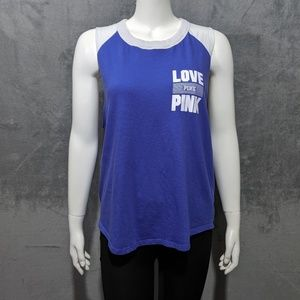 PINK VS blue white raw hem muscle tee